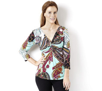 Attitudes by Renee Printed Jersey Knot Detail 3/4 Sleeve Top - 135401