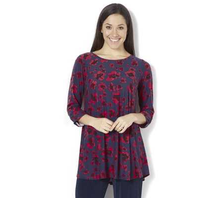 Kim & Co Brushed Venechia Floral 3/4 Sleeve Tunic