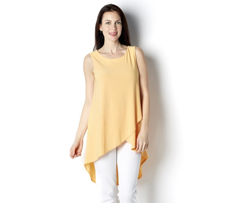 Hi Lo Hem Wrap Front Sleeveless Tunic by Nina Leonard