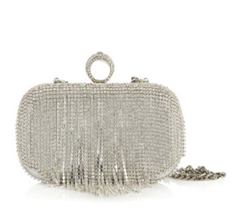 Claudia Canova Silver Tone Clutch Bag with Diamante Detail & Detachable Chain - 164801