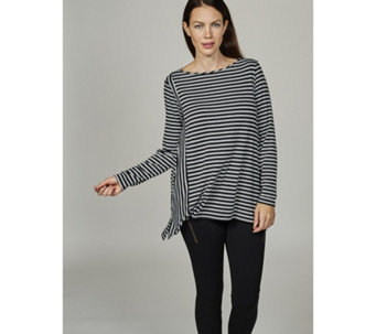 The Lisa Rinna Collection Long Sleeve Striped Knit Top - 166301