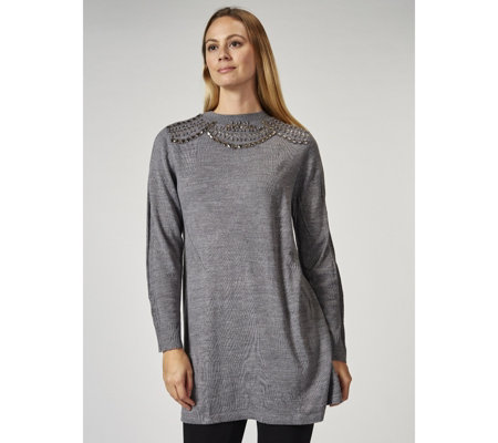 Together Beaded Neckline Knitted Tunic