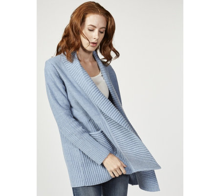 H by Halston Mix Stitch Open Front Cardigan