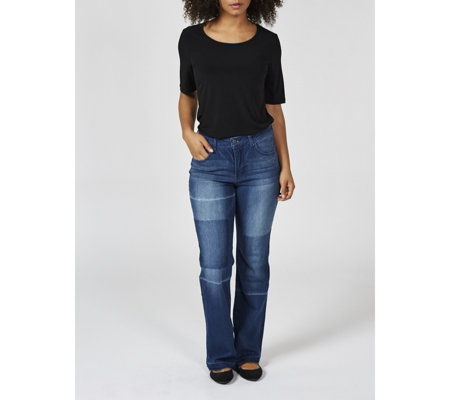 Women with Control Patchwork Detail Bootcut Petite Jeans