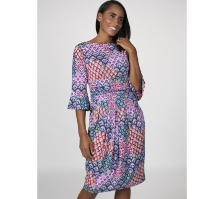 Tammy Printed 3/4 Fluted Sleeve Dress by Onjenu London