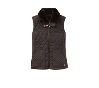 Joules Inverness Quilted Gilet Faux Fur Collar - 169001