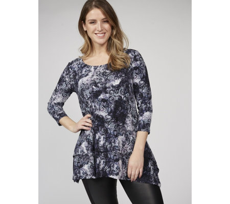 Scoop Neck Printed Tunic with Uneven Hem by Nina Leonard