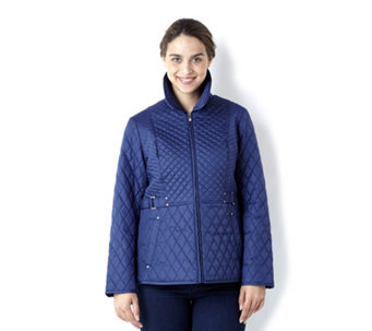 Centigrade Zip Front Light Quilted Jacket with  Print Detail - 131702