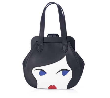 Lulu Guinness Small Doll Face Smooth Leather Pollyanna Handheld Bag