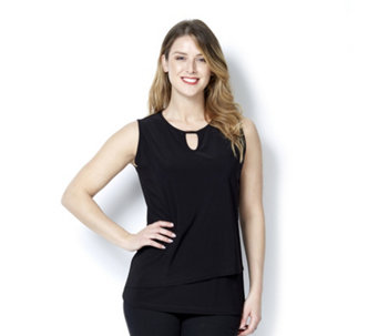 Mr Max Sleeveless Layered Top with Neckline Detail - 165002
