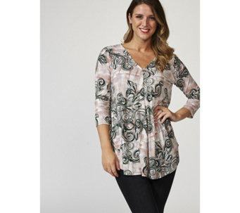 3/4 Sleeve Printed Swing Tunic with Curved Hem by Nina Leonard - 167502
