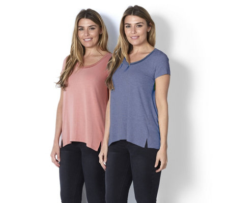 H by Halston Essentials Scoop Neck 2 x T-Shirts