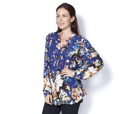 Fashion by Together Floral Printed Crinkle Viscose Blouse