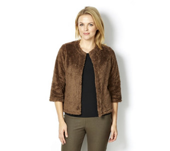 Kim & Co Faux Fur 3/4 Sleeve Bolero - 161903