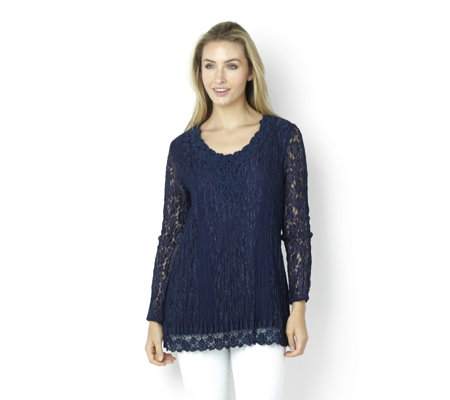 """As Is"" by Together Lace Tunic with Crochet Neckline Trim"