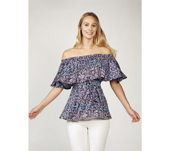 Misty Abstract Print On & Off Shoulder Top by Onjenu London - 168604