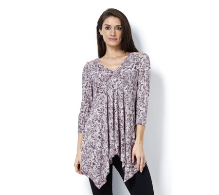 Attitudes by Renee 3/4 Sleeve Cold Shoulder Tunic