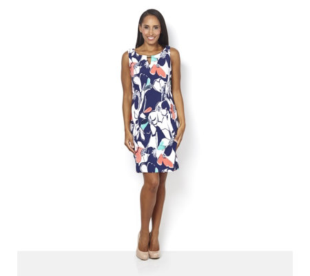Ronni Nicole Sleeveless Printed Dress w/ Keyhole Detail