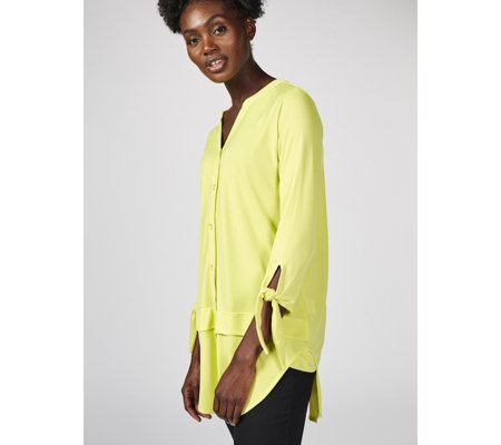 Crepe Jersey Shirt with Tie Sleeve Detail by Michele Hope