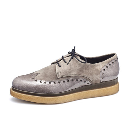 Manas Suede and Patent Leather Brogue