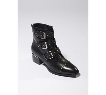 Bronx Vintage Suede Ankle Boot with Stud & Buckle Detail - 168805