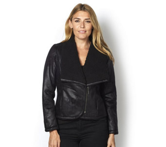 H by Halston Faux Shearling Moto Jacket - 160306