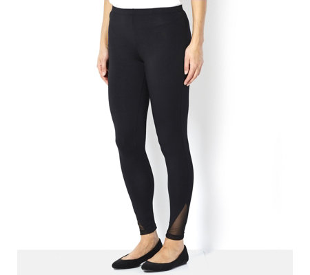 Yong Kim Leggings with Mesh Detail Cuff