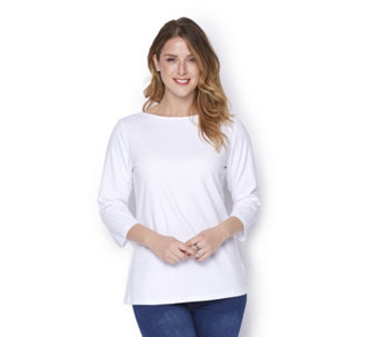 Denim & Co. Essentials Bateau Neck 3/4 Sleeve Top - 164606