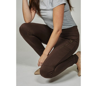 The Lisa Rinna Collection Pull On Twill Moto Leggings - 166306