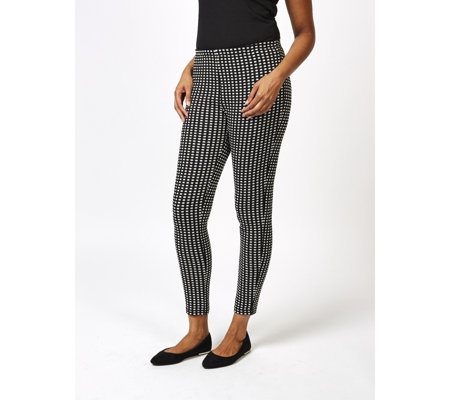 Checked Jacquard Leggings with Elasticated Waist by Nina Leonard