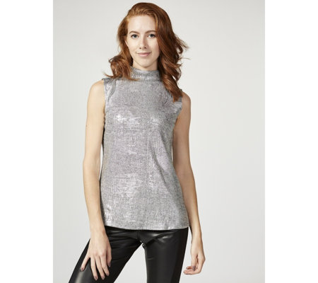 H by Halston Sleeveless Cut Away Mock Neck Top