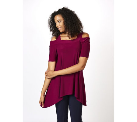 Cold Shoulder Top with Sharkbite Hem by Nina Leonard