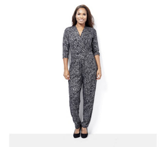 Kim & Co Foil Crepe Crossover Jumpsuit with Pockets - 161807