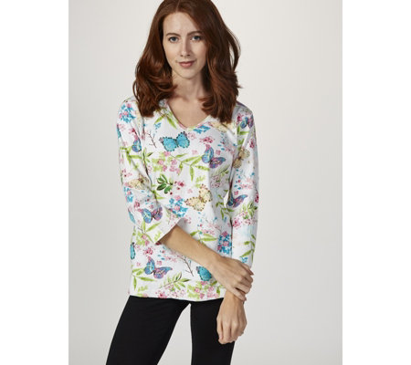 Artscapes Butterfly Garden 3/4 Sleeve V Neck Top