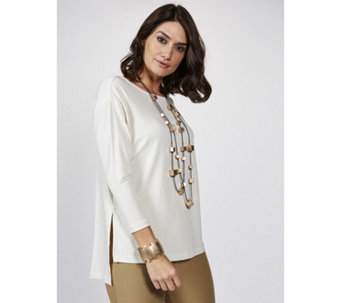 WynneLayers Matt Jersey Top with 3/4 Sleeve & Side Slit Detail - 166907