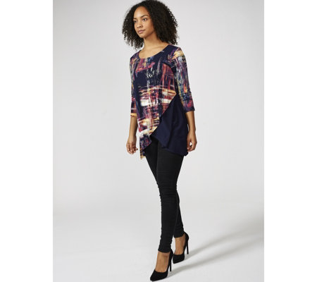 3/4 Sleeve Scoop Neck Top with Tulip Hem by Nina Leonard