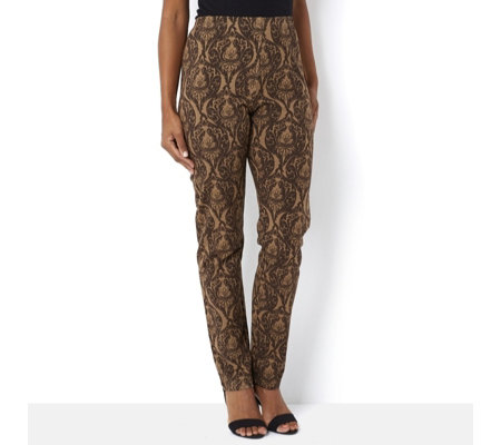 Women with Control Brocade Print Trouser