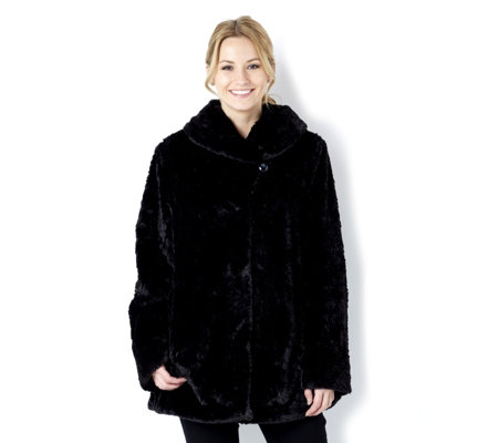 Dennis Basso Textured Faux Fur Jacket with Shawl Collar