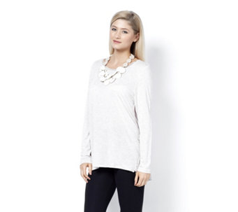 MarlaWynne Whisper Knit Butterfly Tee with Piping Detail - 159008