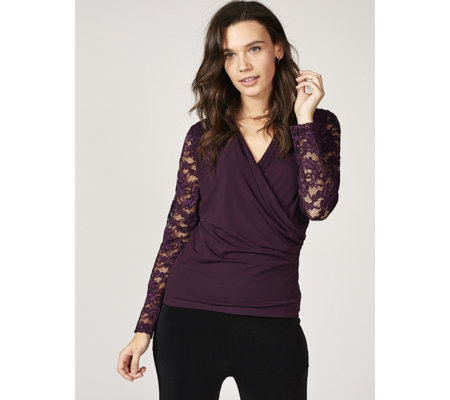 Fashion by Together Faux Wrap Top with Lace Sleeves & Shoulders
