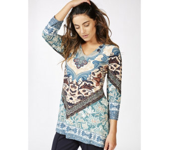 Attitudes by Renee 3/4 Sleeve V Neck Printed Tunic - 166608
