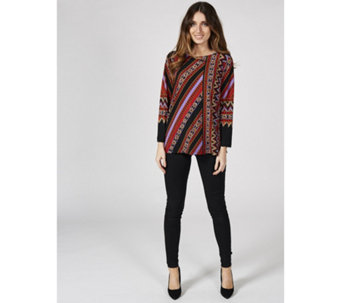 Bob Mackie Long Sleeve Stretch Crepe Printed Tunic - 167408