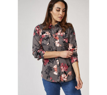 79ea2639d913ee Denim   Co. Printed Heavenly Jersey Long Sleeve Shirt with Patch Pockets -  168908