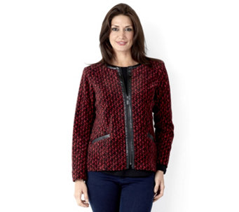 Bob Mackie Printed Zip Through Fleece Jacket - 149509