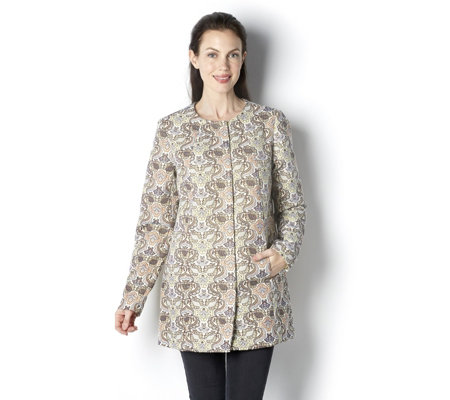 C. Wonder Jacquard Coat with Brocade Tapestry Print