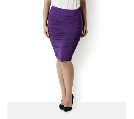 """As Is"" Attitudes by Renee Pencil Skirt with Side Ruching"