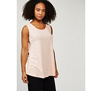 H by Halston Graphic Knit Sleeveless Top with Shiny Knit Panels - 171309