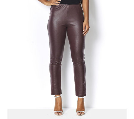 Kim & Co Croco Pleather Slim Leg Trousers Petite Length
