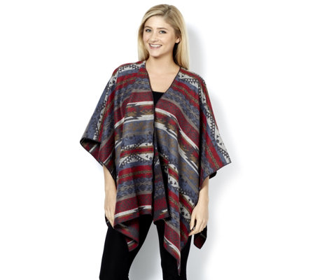 Denim & Co. Jacquard Drape Effect Poncho