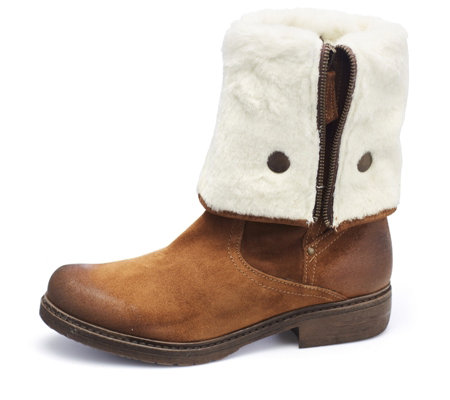 Manas Suede Knee Length Boot with Sheepskin Collar